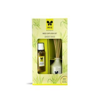 Iris Reed Diffuser with Ceramic Pot - Lemon Grass Home Fragrances  (INRD0101LG)