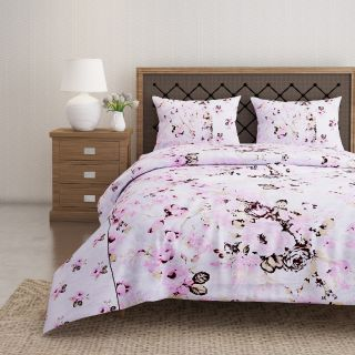 Swayam 144 TC Pure Cotton White and Pink Floral Printed Double Bed Sheet With 2 Matching Pillow Covers