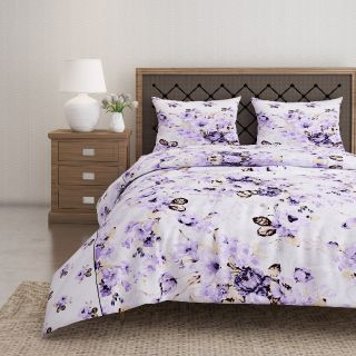 Swayam 144 TC Pure Cotton White and Violet Floral Printed Double Bed Sheet With 2 Matching Pillow Covers