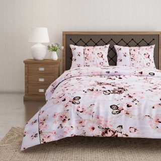 Swayam 144 TC Pure Cotton White and Peach Floral Printed Double Bed Sheet With 2 Matching Pillow Covers