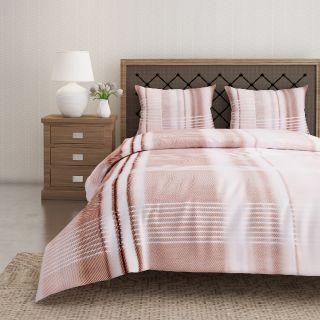 Swayam 144 TC Pure Cotton White and Brown Checkered Printed Bed Sheet With 2 Matching Pillow Covers