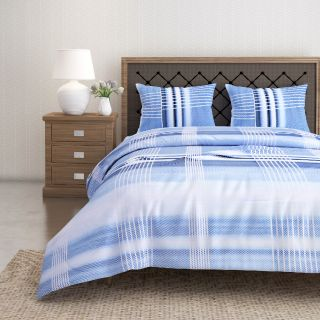 Swayam 144 TC Pure Cotton White and Blue Checkered Printed Bed Sheet With 2 Matching Pillow Covers