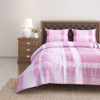 Swayam 144 TC Pure Cotton White and Magenta Checkered Printed Bed Sheet With 2 Matching Pillow Covers