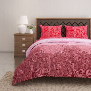 Swayam 144 TC Pure Cotton Maroon and Red Ethnic Motif Printed Bed Sheet With 2 Matching Pillow Covers