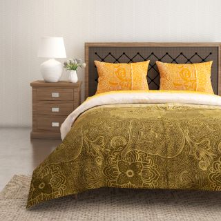 Swayam 144 TC Pure Cotton Olive and Yellow Ethnic Motif Printed Bed Sheet With 2 Matching Pillow Covers