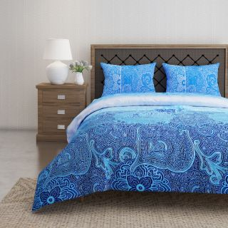 Swayam 144 TC Pure Cotton Navy and Blue Ethnic Motif Printed Bed Sheet With 2 Matching Pillow Covers