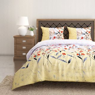 Swayam 144 TC Pure Cotton Lemon Yellow and White Floral Printed Bed Sheet With 2 Matching Pillow Covers