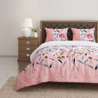 Swayam 144 TC Pure Cotton Peach and White Floral Printed Bed Sheet With 2 Matching Pillow Covers