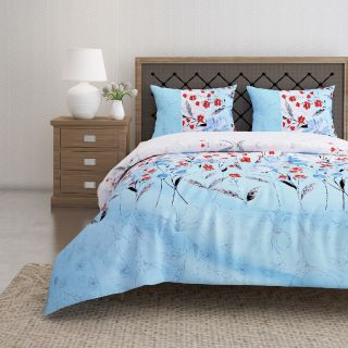 Swayam 144 TC Pure Cotton Sky Blue and White Floral Printed Bed Sheet With 2 Matching Pillow Covers