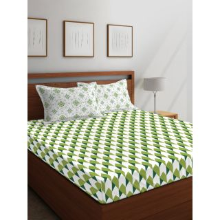 Layers - 100% Cotton - 144 Thread Count - Queen - Firenze Beautiful Colour Premium- Design Bedsheet Set -with 2 Pillow Cover Percale - Breathable and Skin FriendlyFTR00979