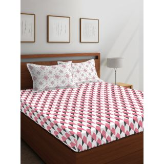 Layers - 100% Cotton - 144 Thread Count - Queen - Firenze Beautiful Colour Premium- Design Bedsheet Set -with 2 Pillow Cover Percale - Breathable and Skin FriendlyFTR00980