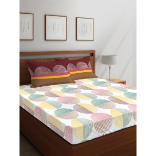 Layers - 100% Cotton - 144 Thread Count - Queen - Firenze Beautiful Colour Premium- Design Bedsheet Set -with 2 Pillow Cover Percale - Breathable and Skin FriendlyFTR00981
