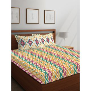Layers - 100% Cotton - 144 Thread Count - Queen - Firenze Beautiful Colour Premium- Design Bedsheet Set -with 2 Pillow Cover Percale - Breathable and Skin FriendlyFTR00983