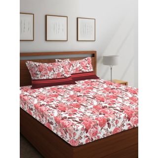 Layers - 100% Cotton - 144 Thread Count - Queen - Firenze Beautiful Colour Premium- Design Bedsheet Set -with 2 Pillow Cover Percale - Breathable and Skin FriendlyFTR00985