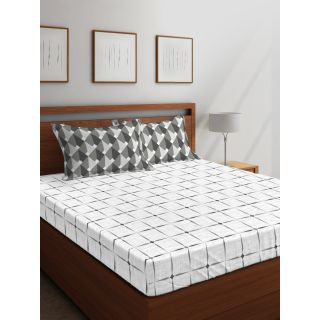Layers - 100% Cotton - 144 Thread Count - Queen - Firenze Beautiful Colour Premium- Design Bedsheet Set -with 2 Pillow Cover Percale - Breathable and Skin FriendlyFTR00988
