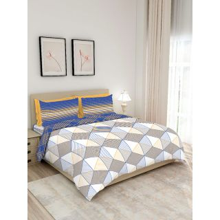 Layers - 100% Cotton - 140 Thread Count - Queen Lombardy Beautiful Colour and Soft Touch - Design BIAB -With 2 Pillow Covers Percale - Breathable and Skin FriendlyFTR01130