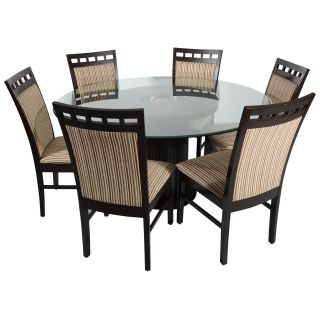 DTN-17 table 4' diameter glass top with DCN-17 Qty 6 chairs