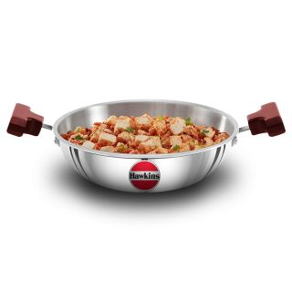 Hawkins Triply 3 mm Extra-Thick Stainless Steel Deep Fry Pan 1.5 Ltr without Lid, Silver