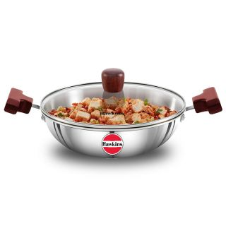 Hawkins Triply 3 mm Extra-Thick Stainless Steel Deep Fry Pan 1.5 Ltr with Lid, Silver
