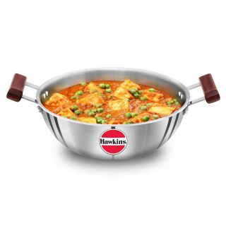 Hawkins Tri-Ply 3mm Stainless Steel Induction Compatible Deep Kadhai (Deep-Fry Pan), 28 cm, 4 Litre, Silver