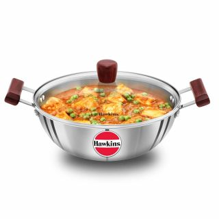 Hawkins 3mm Tri-Ply Stainless Steel Induction Bottom Deep Kadhai with Glass Lid, 28 cm, 4 Litre