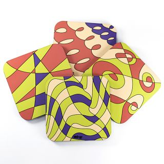 Curved Lines - Coasters (Set of 4)