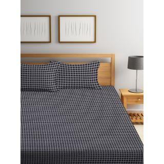Trident Bliss  144 TC 228 X 254 2 PL Bedsheets Black Checkered (8904266251690)