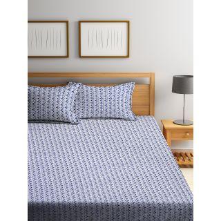 Trident Bliss  144 TC 228 X 254 2 PL Bedsheets  Modern Blue (8904266251935)