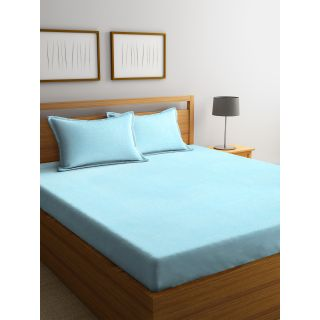 Trident Bliss  144 TC 228 X 254 2 PL Bedsheets Solid Blue (8904266251942)