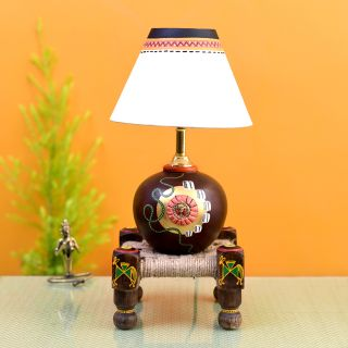 Table Lamp Earthen in Brown Color on Jute Wooden Manji Handcrafted with White Shade (8x8x17)