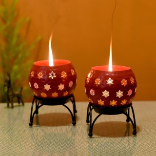 Tealights (Set of 2) Red Polka Style in Round Shape with Metal Stands (5x5x6.5)