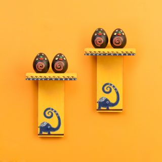 Happy Elephant Yellow Wall Décor Shelves (SO2) with Brown Terracotta Miniatures (5.5x3.5x8)