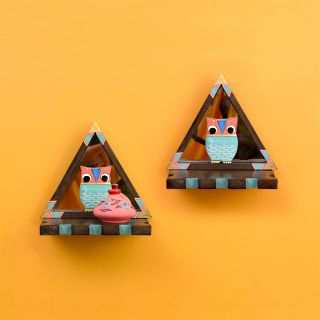 Triangular Wall Décor Shelves (SO2) with Blue Owl Motifs set on Mirrors (7x4.7x7.2)