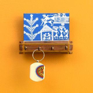 Blue Key Hanger with 4 Hooks adorned with Warli motifs (5.7x2.4x4.3)