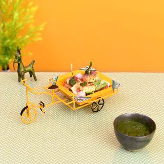 Funky Snacks  Serving Rickshaw in Yellow (9x6x4)