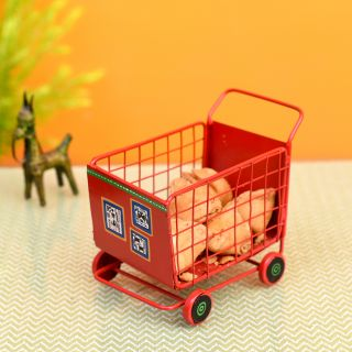 Funky Snacks Serving Trolly in Red Color (6x4.4x5.2)