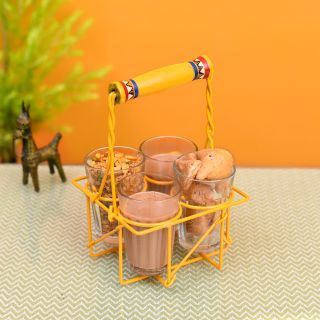 Cutting Chai (S/4) in Yellow Handpainted Metal Stand (5x5x8)