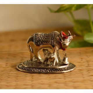 eCraftIndia Handcrafted Cow and Calf Figurine (AAC499S)