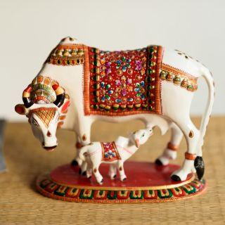eCraftIndia Meenakari Metal Colorful Cow And Calf Figurine (AAC504)