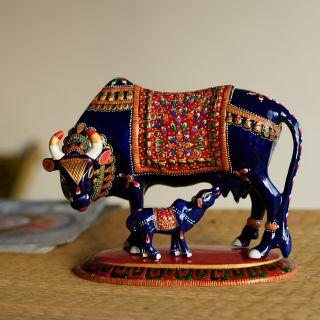 eCraftIndia Meenakari Metal Black Cow And Calf Figurine (AAC505)