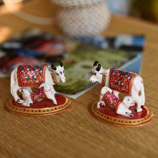 eCraftIndia Set of 2 Meenakari Cow And Calf Figurine (AAC507)