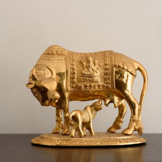 eCraftIndia Golden Kamdhenu Cow and Calf Metal Figurine (AAC508)