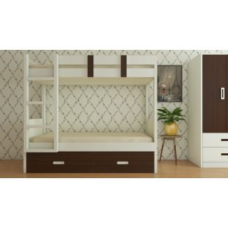 Adona Adonica Twin Bunk Bed Left Ladder with 2 Drawers Coffee Walnut