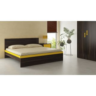 Adona Adonica Fusion King Bed in Plywood Spanish Chestnut - Mango Yellow