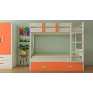 Adona Adonica Twin Bunk Bed Right Ladder with 2 Drawers Light Orange