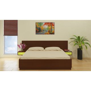 Adona Evita King Bed with Box Storage and Inbuilt Bedsides with Drawers Terra Sienna - Lime Yellow