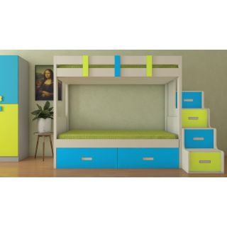 Adona Suvina Twin Bunkbed with Right Storage Steps And Drawers Lime Yellow - Azure Blue