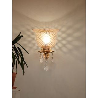 Fos Lighting Majestic Gold & Crystal Aluminium Single Wall Sconce with Golden Hand Cut Glass Shade