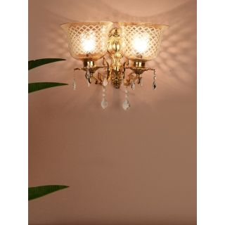 Fos Lighting Majestic Gold & Crystal Aluminium Double Wall Sconce with Golden Hand Cut Glass Shades