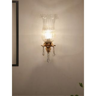Fos Lighting Majestic Gold & Crystal Aluminium Single Wall Sconce with Fluted Glass Jar Shade